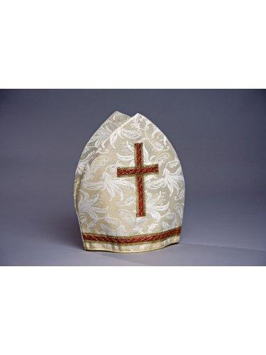 Kostüm Papst Hut - Bischofsmütze (Mitra) creme-/goldfarben