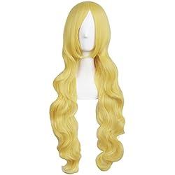 MapofBeauty 31 Pouce/80cm Long Cheveux Bouclés Cosplay Perruque (Or)