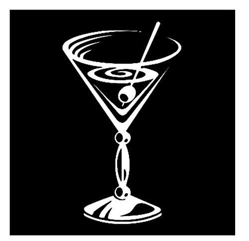 8,8 cm * 14,9 cm Alkohol Cocktail Glas Party Decor Auto Aufkleber Vinyl Schwarz/Silber/3PCS (Zu Halloween-cocktails Leicht Machen)