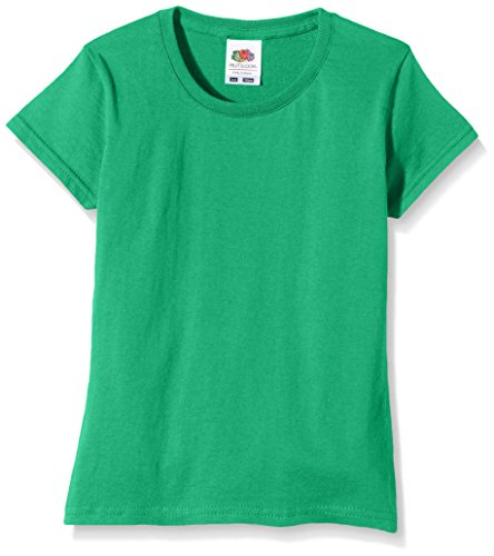 Fruit of the Loom Girls Sofspun T-Shirt, Kelly Green, 7-8 Years (Manufacturer Size:30)