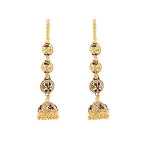 GoldNera Kashmere style long kaan chain jhumka earrings jewellery for women