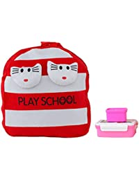 Uxpress Fur Red And White School Bag With Water Bottle & Tiffin Box