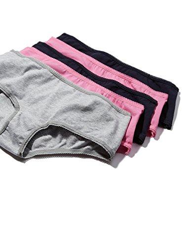Iris & Lilly Damen Taillenslip Cotton High Leg, 5er Pack Mehrfarbig (Azelea Pink / Navy Sky / Melange)
