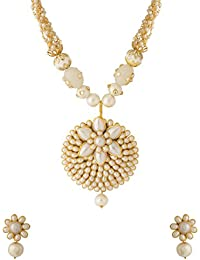 Voylla Traditional White Brass Necklace Set For Women