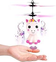 Juguete Volador Unicornio, Helicóptero de Control de Inducción Seguro, Avión Unicornio con Luz LED, Juguete Vo