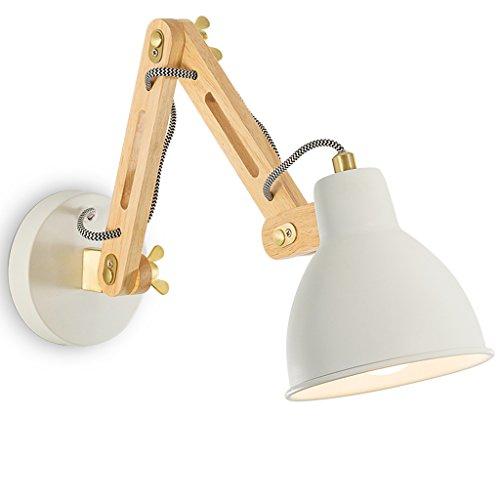 Wandlampe Wandleuchte Schlafzimmer Nacht Leselicht Kreative Holz Versenkbare Rocker Stairs Wandleuchte E27 Lichtquelle ( Farbe : Weiß )