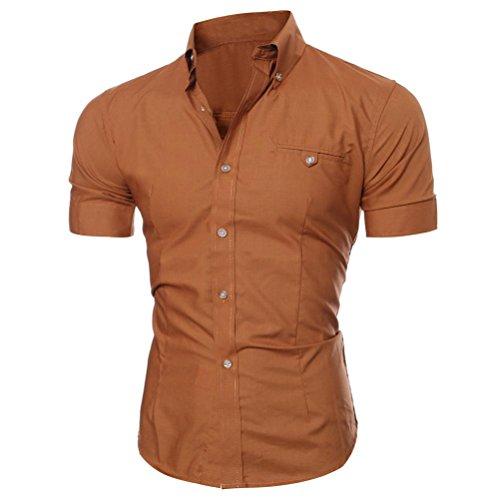 Herren Hemd T-shirt,Dasongff Herren Hemden Mode Luxus Business Stilvolle Slim Fit Kurzarm Freizeithemd Businesshemd Hemd Shirt Tops Sieben Farben Sommer (XL, Braun) (Farbe Baumwolle Kontrast)