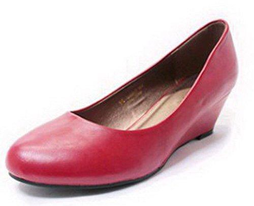 AalarDom Damen Rund Zehe Ziehen Auf Pu Leder Rein Mittler Absatz Pumps Schuhe Rot