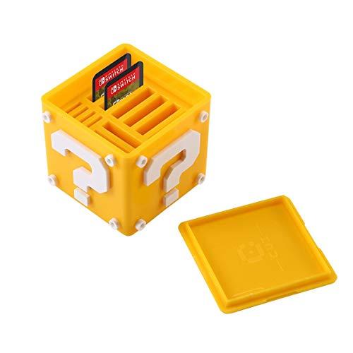 Estuche para Juegos de Nintendo Switch, AOLVO 12-en-1 Lindo Funda para Cartuchos de Juegos llevar 8 Cartuchos de Juego y 4 Tarjetas SD (Amarillo)