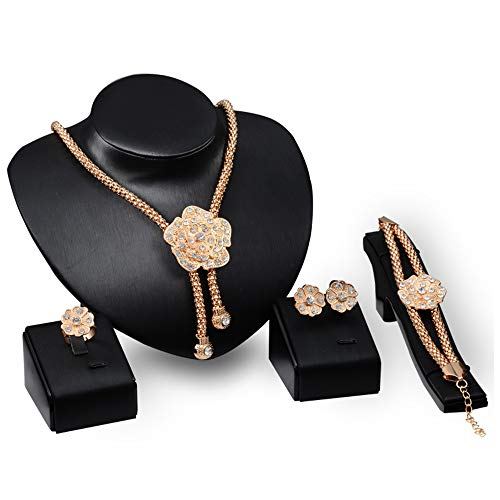 DEQIAODE 18K Gold plattiert Halskette Ohrring Ring Armband Set indischen ethnischen Schmuck Geschenk für Frauen