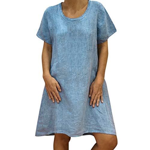 EUCoo Damen Leinen Kleid Sommer tropischen Stil Volltonfarbe V-Ausschnitt Tasche beiläufige lose Hemdkleid (Mit Hülse Kleiner Brautkleid)
