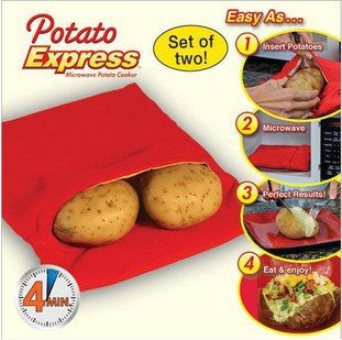 Vinallo 2 Pack Microwave Potato Cooker Bag- Potato Express Pouch, Perfect Potatoes Just in 4 Minutes -Red