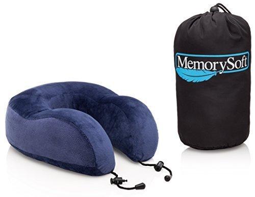 Almohada Viaje de Lujo de MemorySoft - Con Suave y Cómoda Espuma con Memoria Ergonómica, Para Tu Cuello - Incluye una Bolsa de Viaje