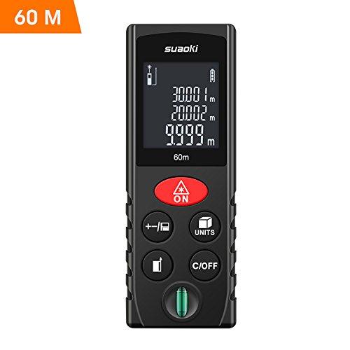 SUAOKI Laser Entfernungsmesser 60M Tragbares Digital Distanzmessergerät mit dem LCD-Hintergrundbeleuchtung Display