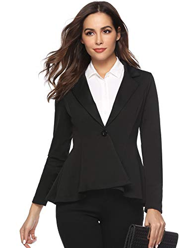 Aibrou Blazer Donna Manica Lunga Giacche da Abito Elegante Classico Scollo V Tailleur Giacca Carriera Casual Cappotto Jacket Donna