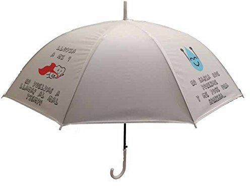 Paraguas con frase y de color blanco.