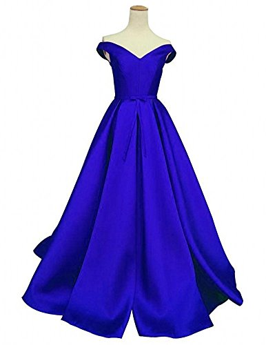 Miranda's Bridal Women's Sweetheart Off the Shoulder A Line Prom Dress with Sash Royal Blue US16 (Womens Blue Prom Dresses)