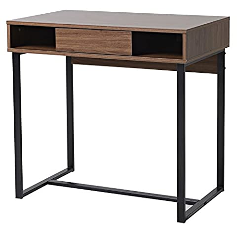 bonVIVO® Designer Desk COCO, modern secretary desk / dressing-table with drawer in a stylish combination of wood with Mocha-Brown finish and elegant black steel frame