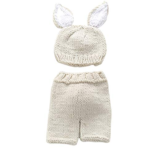 WESEEDOO Newborn Baby Fotoshooting Häkeln Sie Hosen Stützen-Hüte Kaninchen Kostüme Stricken Baby-Fotografie Creamy-White (Zukunft Erinnerungen Kostüm)