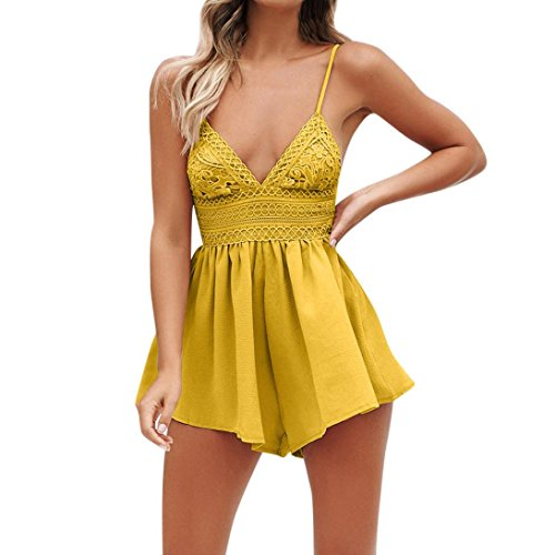 Holywin Women Summer Lace Bowknot Backless Mini Jumpsuit Evening Party Beach Jumpsuit Rompers