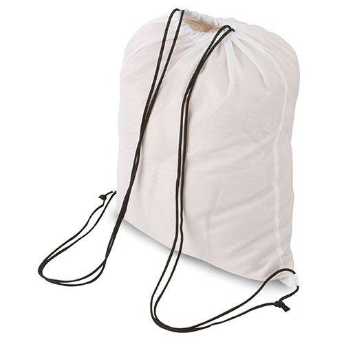 My Custom Style® Confezione risparmio da 10 sacchi borsa zaino a spalla BIANCO in versione neutra non stampata, da cm 34x39,5, per palestra, mare, piscina , sport o tempo libero. Il sacco / zainetto s