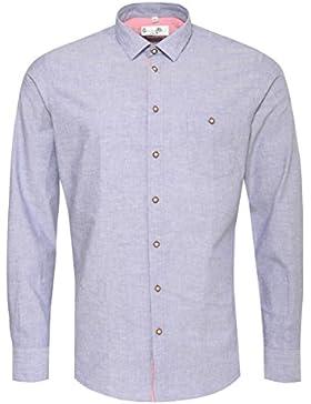 Gweih und Silk Trachtenhemd Body Fit Kochelsee in Blau