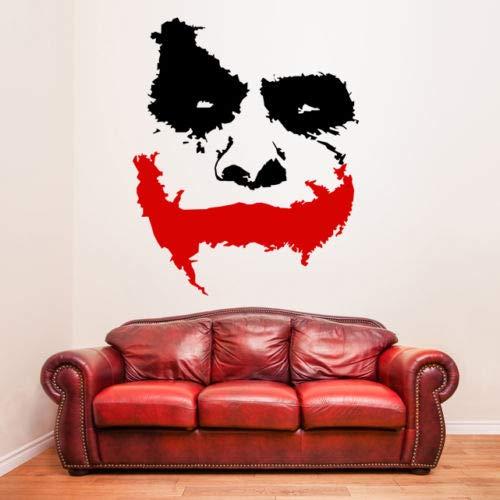 er Wandaufkleber,Vinyl Wandtattoo Scary Joker Gesicht Film Batman: The Dark Knight Aufkleber wandbild ()