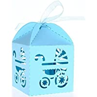 PIXNOR 50 Piezas Caja para Caramelos Regalo Bombones Recuerdos de Bautizos Bodas con Cinta (Azul Cielo)