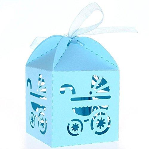 Preisvergleich Produktbild PIXNOR 50 Stück Hochzeit Gastgeschenk Schachtel Bonbon Box Geschenkbox - Himmelblau Kutsche