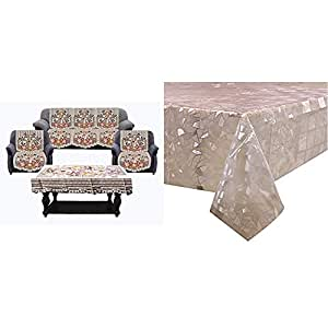 Kuber Industries Flower Cotton 7 Piece 5 Seater Sofa Cover with Center Table Cover (Brown)-CTKTC28730 & Stone Design PVC 6 Seater Dining Table Cover (Transparent)-CTKTC29985 Combo