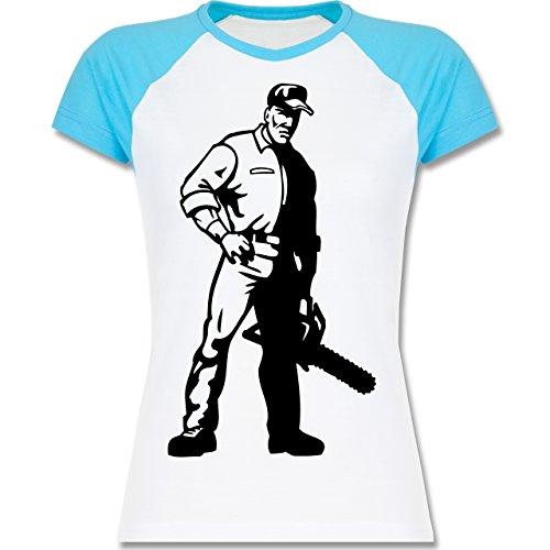 Handwerk - Holzfäller - zweifarbiges Baseballshirt / Raglan T-Shirt für Damen Weiß/Türkis