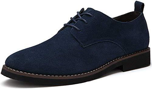 Zapatos de Cordones Hombre Casuales Zapatos de Cuero de Ante Cómodo Derby Oxford Azul Negro Marron...