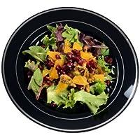 Elegante plato de platos de plástico duro y pesado, platos de servir – negro con diseño de plata – 23 cm – desechable/reutilizable – Pack de 12