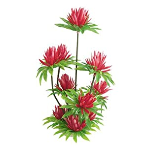 """Fish Tank Aquarium Red Simulated Water Lily Lotus Plastic Plant Ornament 10"""" by sourcingmap"""