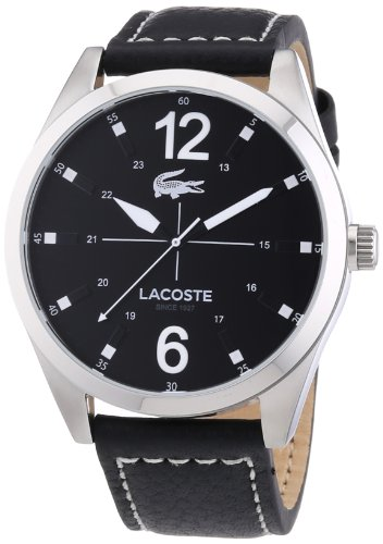 Lacoste 2010695 Mens Quartz Analog Watch, Leather Strap Black