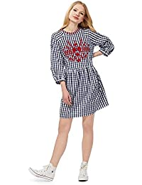 Red herring heart print dress
