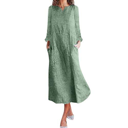 Kostüm Beliebte Marken - Gestreift Patchwork Kleider Damen Elegant Wadenlang Loose Fit A-Linie Freizeitkleider Langarm Rundhals V-Ausschnitt Home Pendeln (2XL, Grün 6774)