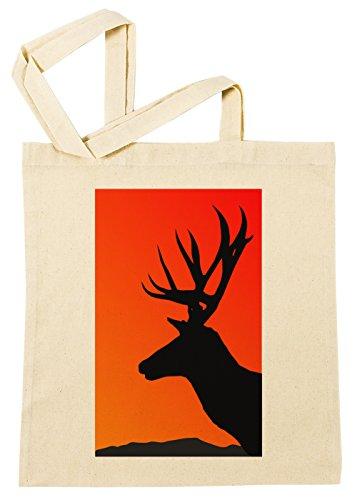 Erido Hirsch Illustration Einkaufstasche Wiederverwendbar Strand Baumwoll Shopping Bag Beach Reusable