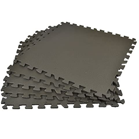 BLACK INTERLOCKING EVA SOFT FOAM EXERCISE FLOOR MATS GYM GARAGE HOUSE OFFICE MAT (36 Mats - 144 Square