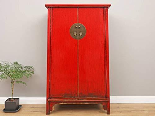 Yajutang Chinesischer Hochzeitsschrank 2 Türen rot Massivholz ...