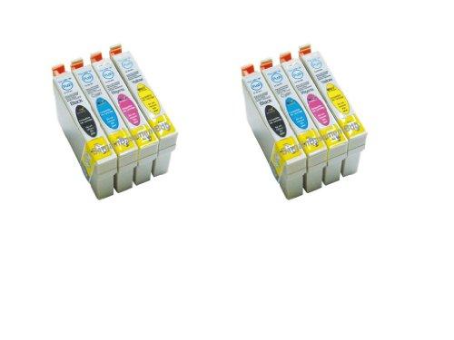 Preisvergleich Produktbild Ersatz-Tintenpatronen, kompatibel mit den Originalpatronen Epson T1291-1294, für EPSON Stylus SX525WD / SX620FW EPSON StylusOffice B42WD BX525WD / BX525FWD / BX320FW / SX420W / BX925FWD / BX625FWD / BX635FWD / BX535WD / BX305FW / BX305F, 8 Stück