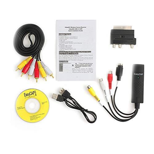 ForceSthrength USB 2.0 VHS zu DVD Konverter Audio Video Capture Kit Scart-Cinch-Kabel für Win10 Schwarz Cinch-audio-kit