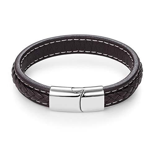 Daxey - Männer Schmuck Punk Schwarz Geflochtene geunine Leder-Armband-Edelstahl-Magnetschnalle Mode-Armbänder 22/20,5 cm [18.5CM Brown ()