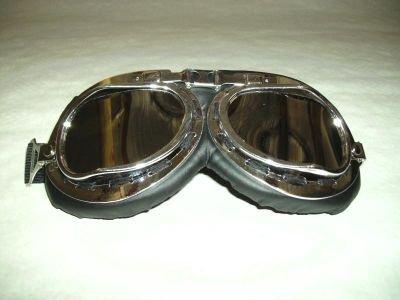 Gafas para motero - Tipo gafas de piloto - Lentes de plástico cromado