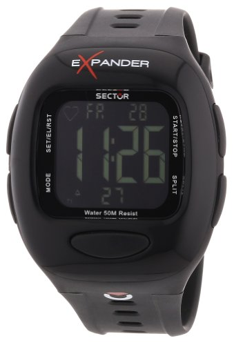 Sector Cardio Sports Watch with Heart Rate Monitor, with Black Dial and Black Silicone Strap - R3251173025