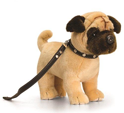 (Lashuma Plüschtier Beiger Mops mit Leine, Kuscheltier lebensechter Hund ca. 30 cm)
