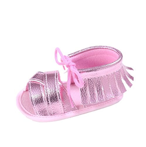Baby Schuhe Auxma Baby Mädchen Sommer Quasten Sandalen Schuhe Prewalker für 3-6 6-12 12-18 Monat (3-6 M, Rosa)