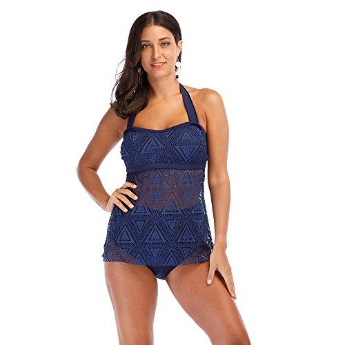 Mode Spitze Split Bikini Set Damen, DoraMe Frauen Strand Badeanzüge Schwimmen Kostüme Bademode Push-up Gepolsterte BH Verband Bodysuits (Blau, Asien Größe XL)