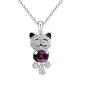"""""""line.bijoux""""collier pendentif chat souriant tenant cristal violet,plaqué or blanc"""