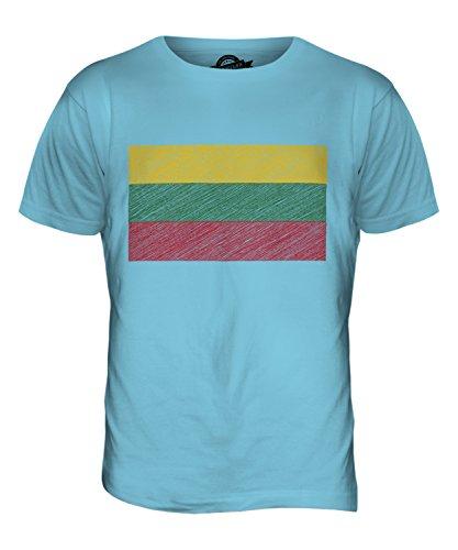 CandyMix Litauen Kritzelte Flagge Herren T Shirt Himmelblau